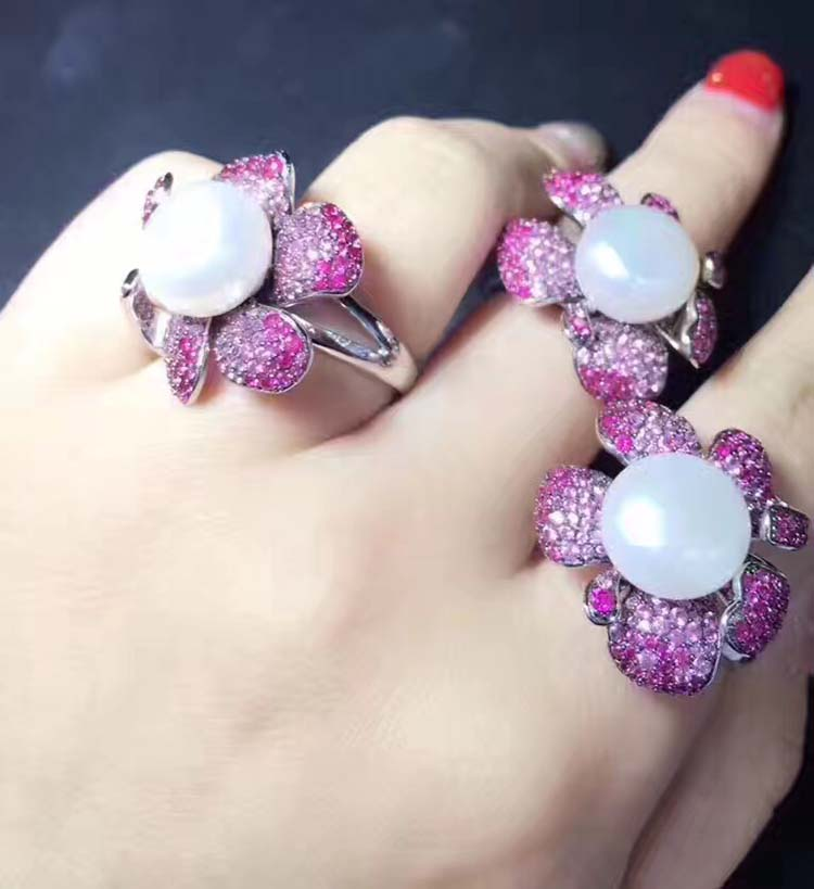Qi Xuan_Trendy Jewelry_Freshwater жемчуг Ring_S925 Твердые Щепка Мода пресноводного жемчуга Ring_Manufacturer непосредственно распродажа