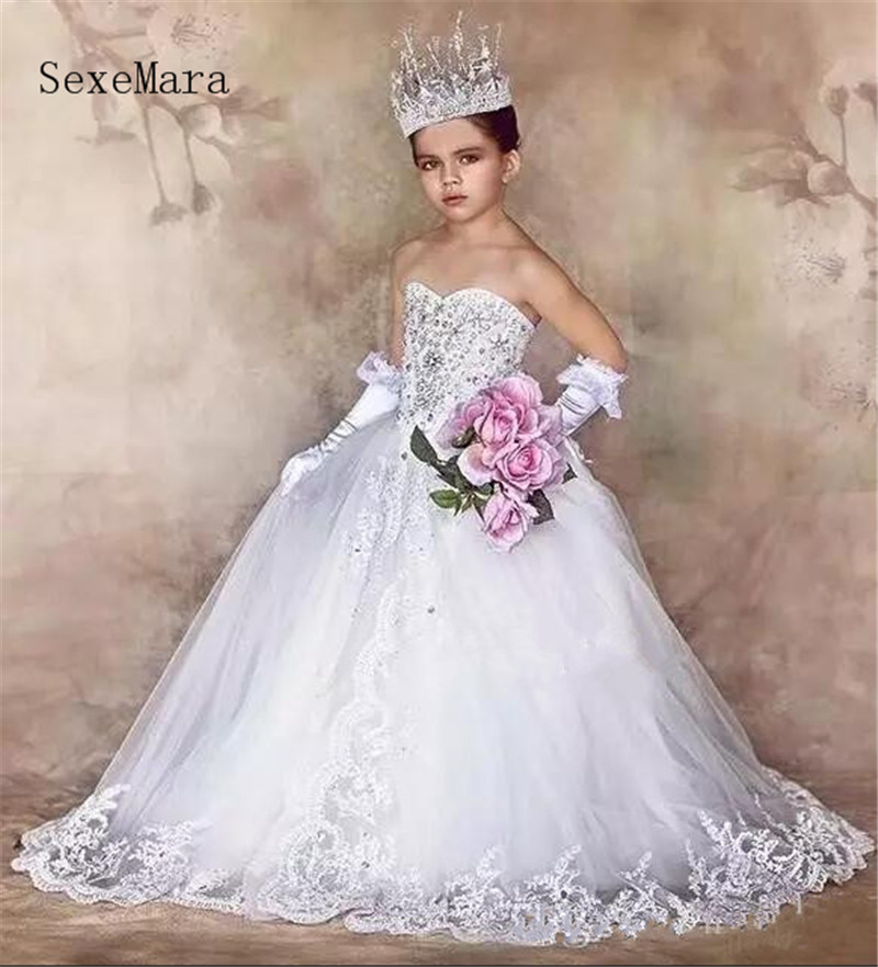 New Luxury Flower Girls Dresses for Weddings Lace Appliques Crystal Little Girls First Communion Dress Girls Pageant Party Gown in Flower Girl Dresses from Weddings Events