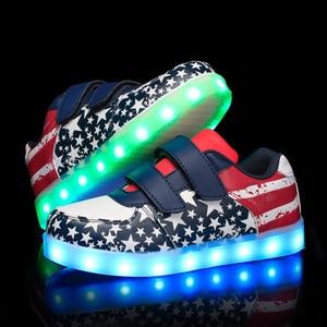 Image 2 - Size 25 35 Luminous Sneakers USB Children Shoe Boy Girl Glowing Sneakers with Luminous Sole Tennis Kids Light Up Shoes Basket