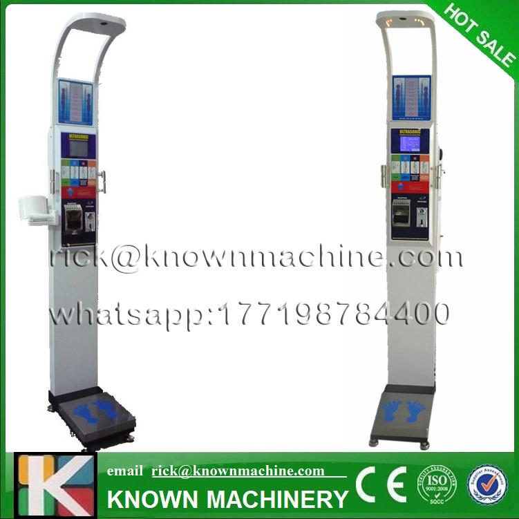 Vending ultrasonic height and weight BMI fat/blood pressure machine with coiner and printer KN-15A with high-clear LCD small condoms vending machine with coins acceptor with 5 choices