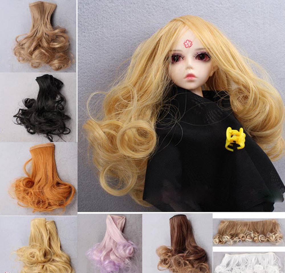Stunning Curly Doll DIY Wigs For Barbie Doll For  1/three 1/four BJD SD Wavy Handmade Dolls Wig Hair 15*100CM Brown Flaxen Brown Gold