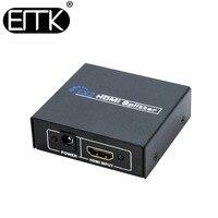 EMK HDMI Splitter 1.3b hdmi dc 5 V 1 entrée 2 sortie Commutateur adaptateur avec alimentation Soutien 1920x1080 p 3D DVD HDTV STB TV BOX PC