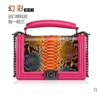 Yuanyu новая женская сумка из змеиной кожи, натуральная кожа, кожа питона, на одно плечо, поперечная сумка, Змеиный узор, маленькая квадратная с