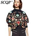 SCQP Colorido Floral Bordado Pulôver Das Senhoras Inverno 2016 Moda Casual Mulheres Blusas Femme Preto Solto Camisola de Malha