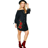 Plus Size Off The Shoulder Flower Embroidery Black Shirt Dress Women Single Breasted Bow Tie Sleeve Dress Beachwear 6XL 7XL