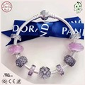High Quality Famous Brand Design Silver Jewelry Pink Silver Charm Series 925 Sterling Silver Bracelet