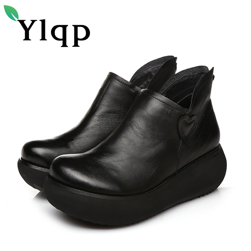 Ylqp Beauties National Style Original Shallow Mouth Mother's Soft Shoes Female High Heels Genuine Leather Boots for Women Shoes