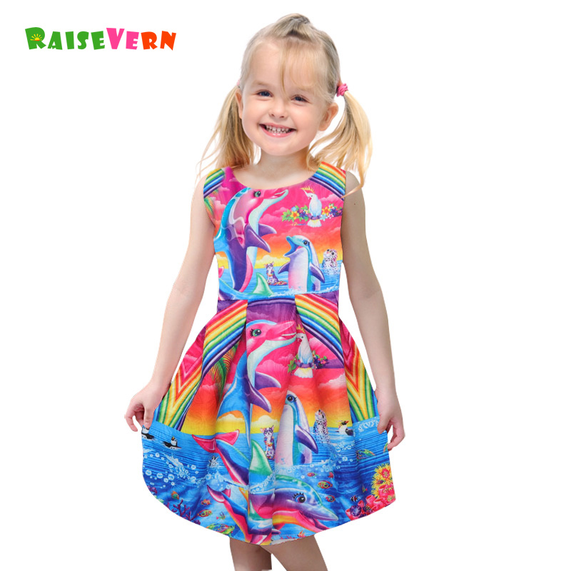 цена на 2018 New Girls Dolphin Rainbow Print Dress Summer Kids Children Costume Sleeveless Clothes Cute Party Princess Colorful Dresses