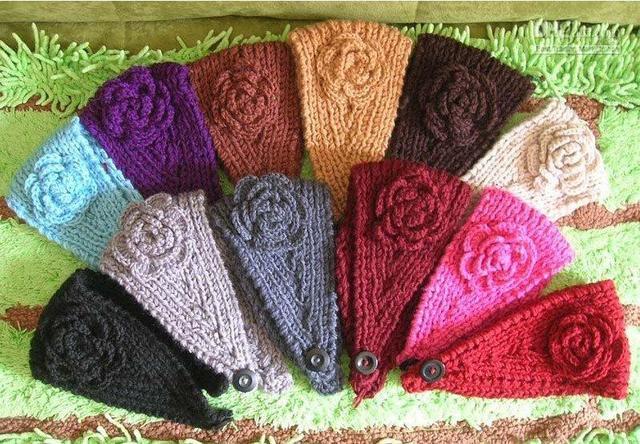 hot sale adult Handmade knit winter Headband crochet Flower headwrap Earband Headwear 16color