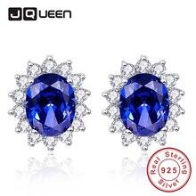 Мода свадьбу ювелирные Royal Blue Танзанит Серебряные серьги для Для женщин серебро 925 Винтаж шпильки с фианитами
