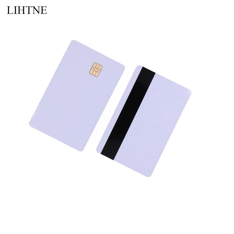 1PCS Smart IC Cards SLE 4442 Chip With Hico Magnetic Stripe 2 in 1 Blank PVC Contact IC Cards winfeng 2000pcs lot cmyk color pvc snap off keychain combo cards plastic die cut combo cards with barcode