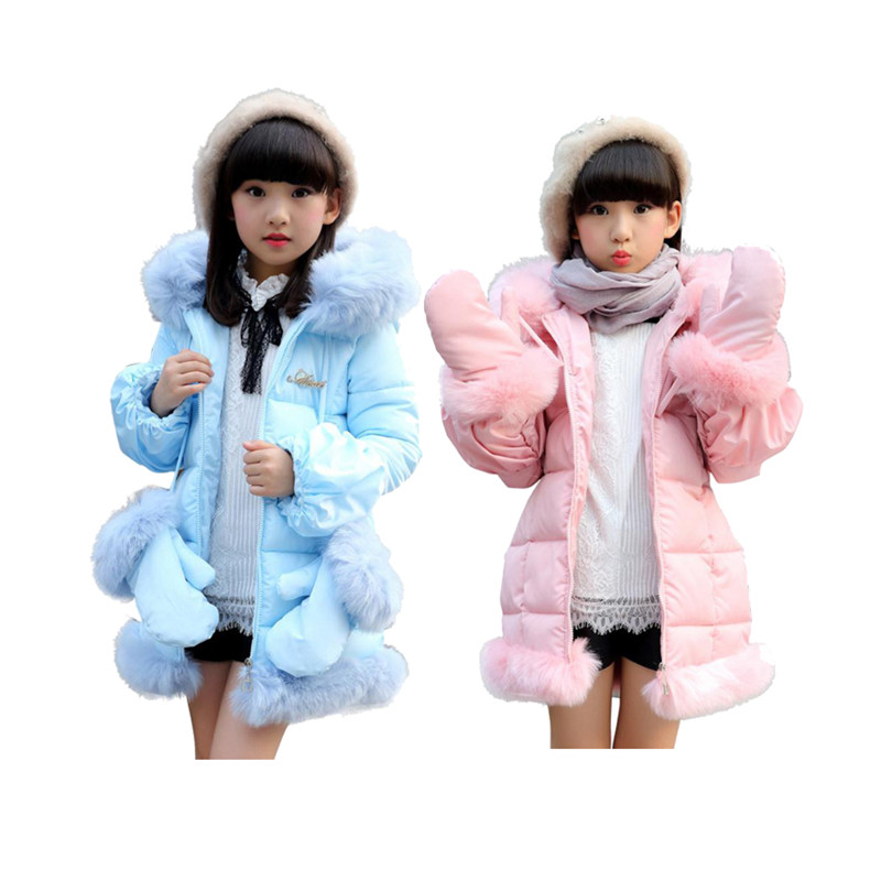 thick little girl parkas coat thick Winter <font><b>warm</b></font> overcoat for 3-12yrs girls children kids jacket outerwear clothes with golves