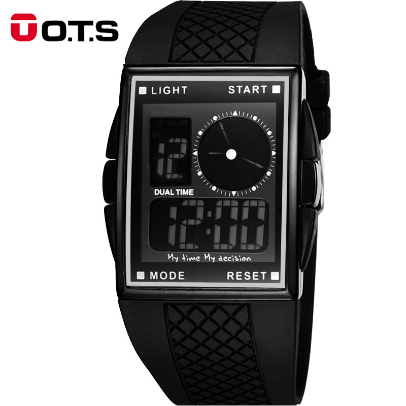 <font><b>OTS</b></font> LED Digital Analog Men Sports Watch Black Rubber Auto Date Alarm Multifunction Outdoors Man Wristwatches 369