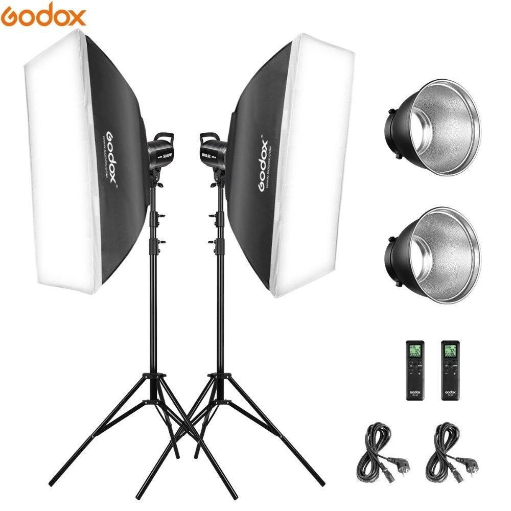 Godox 2*SL-60W 60Ws 5600K Studio LED Continuous Photo Studio Video Light + 2*1.8m Light Stand + 2*60x60cm Softbox LED Light KitGodox 2*SL-60W 60Ws 5600K Studio LED Continuous Photo Studio Video Light + 2*1.8m Light Stand + 2*60x60cm Softbox LED Light Kit
