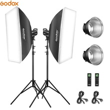 Godox 2*SL-60W 60Ws 5600K Studio LED Continuous Photo Studio Video Light + 2*1.8m Light Stand + 2*60x60cm Softbox LED Light Kit godox tl 5 photo studio continuous lighting tricolor light head light stand softbox photography lighting kit
