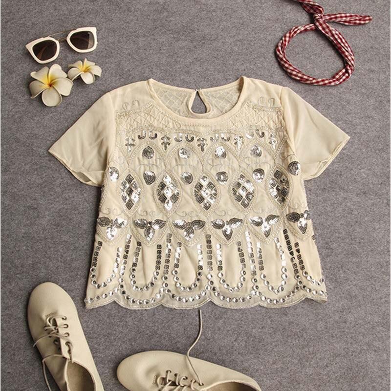 Seily Роскошная летняя шифоновая блузка с вышивкой бисером и блестками высокого качества с коротким рукавом повседневные женские вечерние Блузы с блестящим узором - Цвет: Almonds