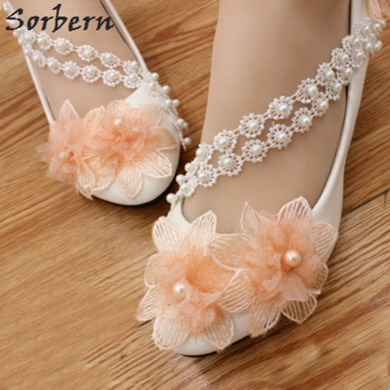 Sorbern Orange Flower Wedding Shoes Low Heels Round Toe Beading Lace Strap  Bridesmaid Shoes Comfortable Ladies d0cf6ae27a34
