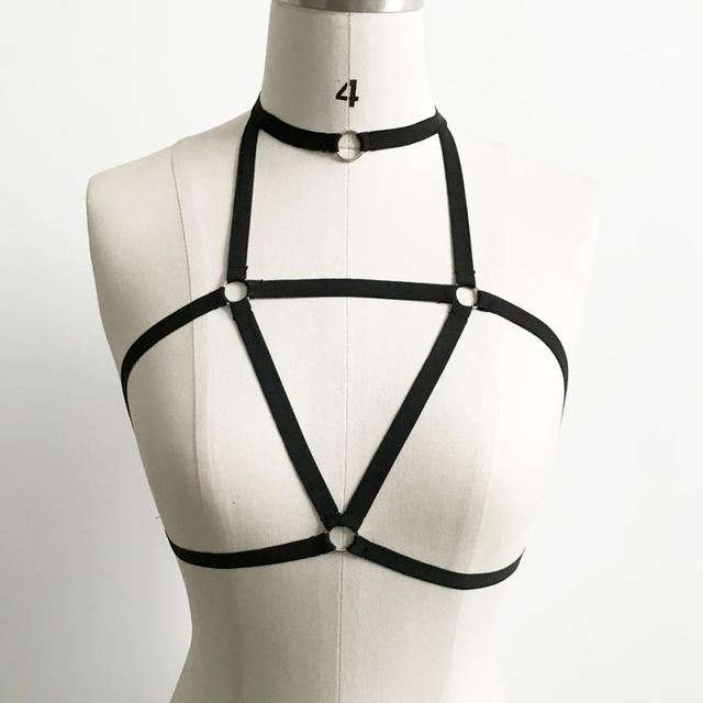 Crop Tops Black Cross Bandage Hollow Out Chocker Top Cropped For Women Strappy Bralette Canottiere Donna