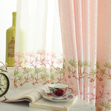 Home Garden - Home Textile - European Rural Style Shading Cloth Garden Embroidery Bedroom Curtains Pink Children Curtains Modern Trees Living Room Curtains