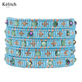 Kelitch 2016 New Design Wonderful Beautiful Turquoise Crystal Seed Beads Women Bracelets Leather Wrap Multilayers Cuff Bracelet