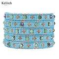 Kelitch 2016 Nuevo Diseño Maravilloso Hermoso Color Turquesa Granos de la Semilla de Cristal Mujeres Multilayers Pulseras Del Abrigo Del Cuero Brazalete Pulsera