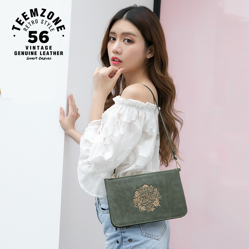 Multi-function Genuine Leather Vintage Envelope Bag Women Zipper Handbag Messenger Bag Cow Leather Clutch Wallet High QualtiyJ20 women day clutch genuine leather envelope bag banquet women handbag vintage cowlayer messenger bag