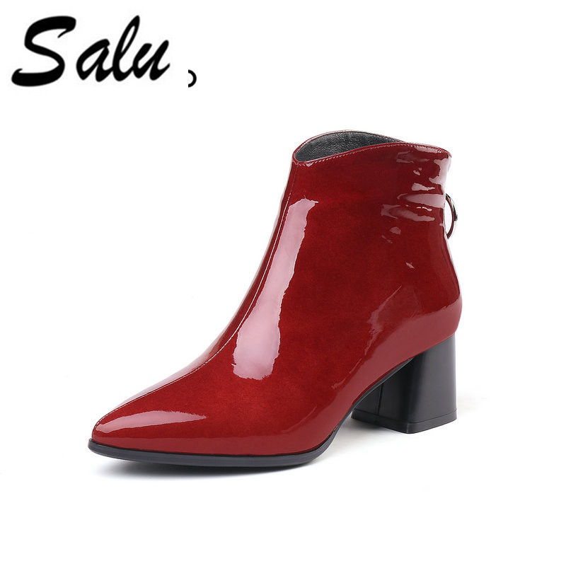 Salu Winter Autumn Ankle Boots Woman Genuine Leather Pointed Toe Thick High Heel Booties black Ladies 2017 spring autumn ankle boots fashion women booties genuine leather microfiber pointed toe stiletto high heel black
