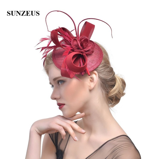 660247b0 Burgundy Linen Hats for Women's Party Hair Accessories Feathers Elegant  Wedding Hats for Bridal tocados sombreros