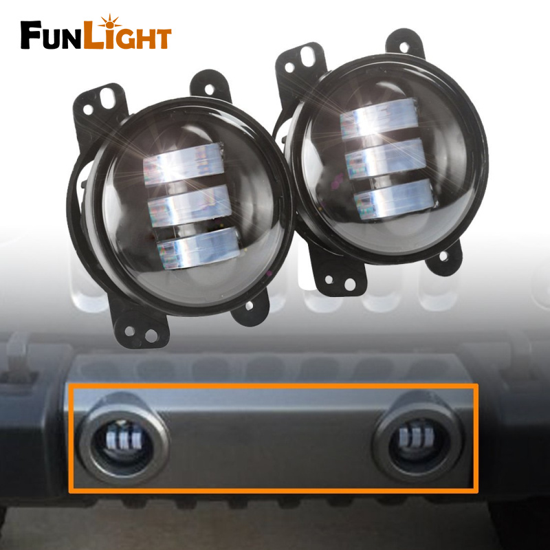 2pcs 4 Inch 30w  Led Fog Lamps Bulb Auto Led Headlight Driving Offroad Lamp for Jeep Wrangler Dodge Chrysler Front Bumper Lights