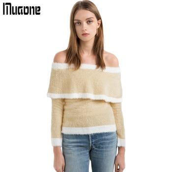 MUAONE 2017 Autumn New Women's Sweet Temperament Slash Neck Strapless Long-sleeved Sweater High Quality Clothes M62PQ0135