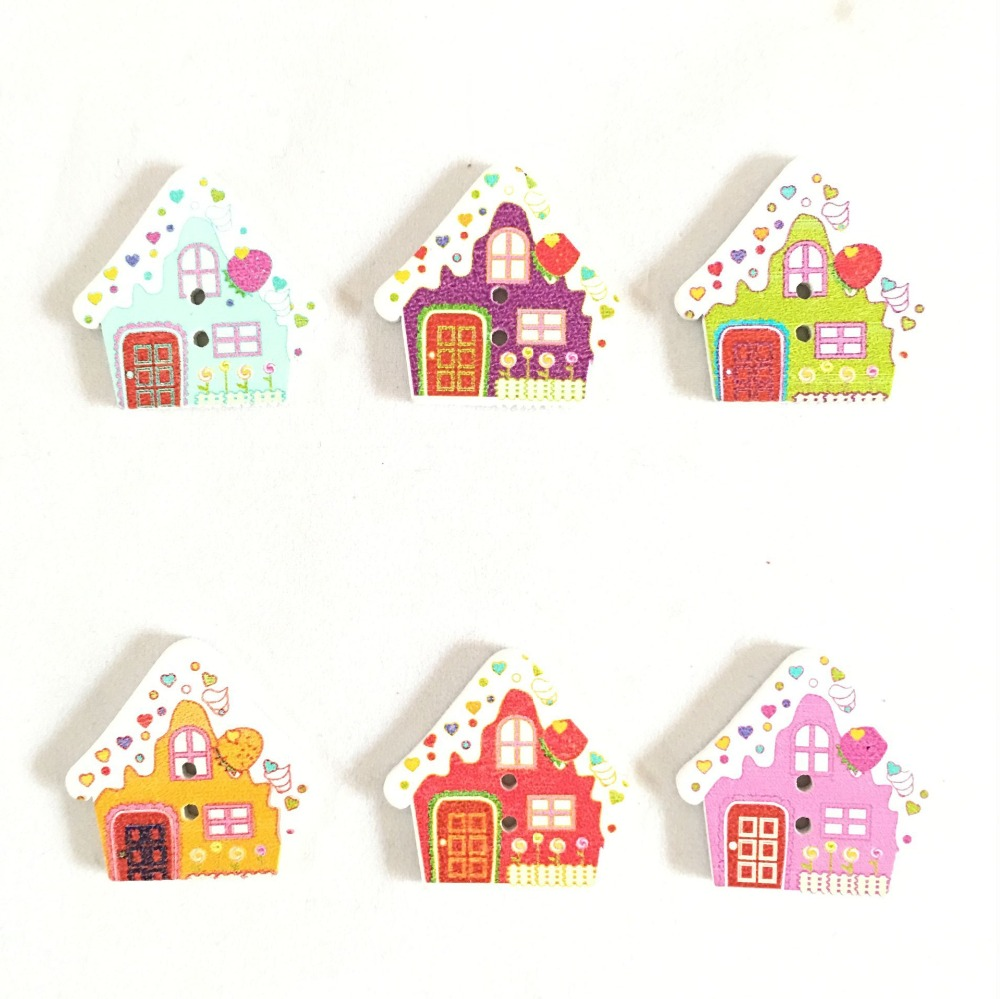 50PCs Colorful Cartoon Small house Cute Wood Sewing Button 2 Holes For Sewing ,DIY,Decorate  7NK216 button