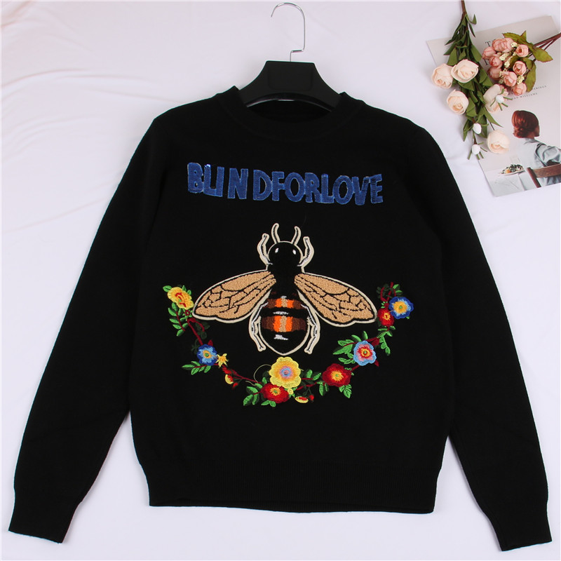SRUILEE Design Sweet Bee and Flower Embroidery Sweater Autumn Winter Sequin Letter Jumper Women Sweater Pullover Knit Top Runway