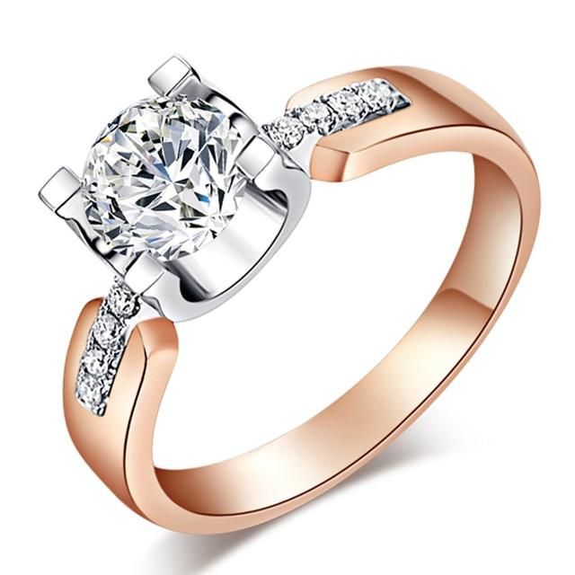 EDI Templo de Laboratorio Crecido Diamantes Moissanite 1CT Corte Redondo Real 14 K 585 de Oro Rosa Anillo de Compromiso de la Boda de Navidad Para la Mujer joyería