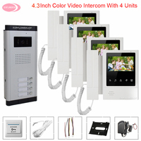 Video Call With Monitors for Door Video Intercom for a Private House Intercom 4.3 inche Home Intercom Video Surveillance System