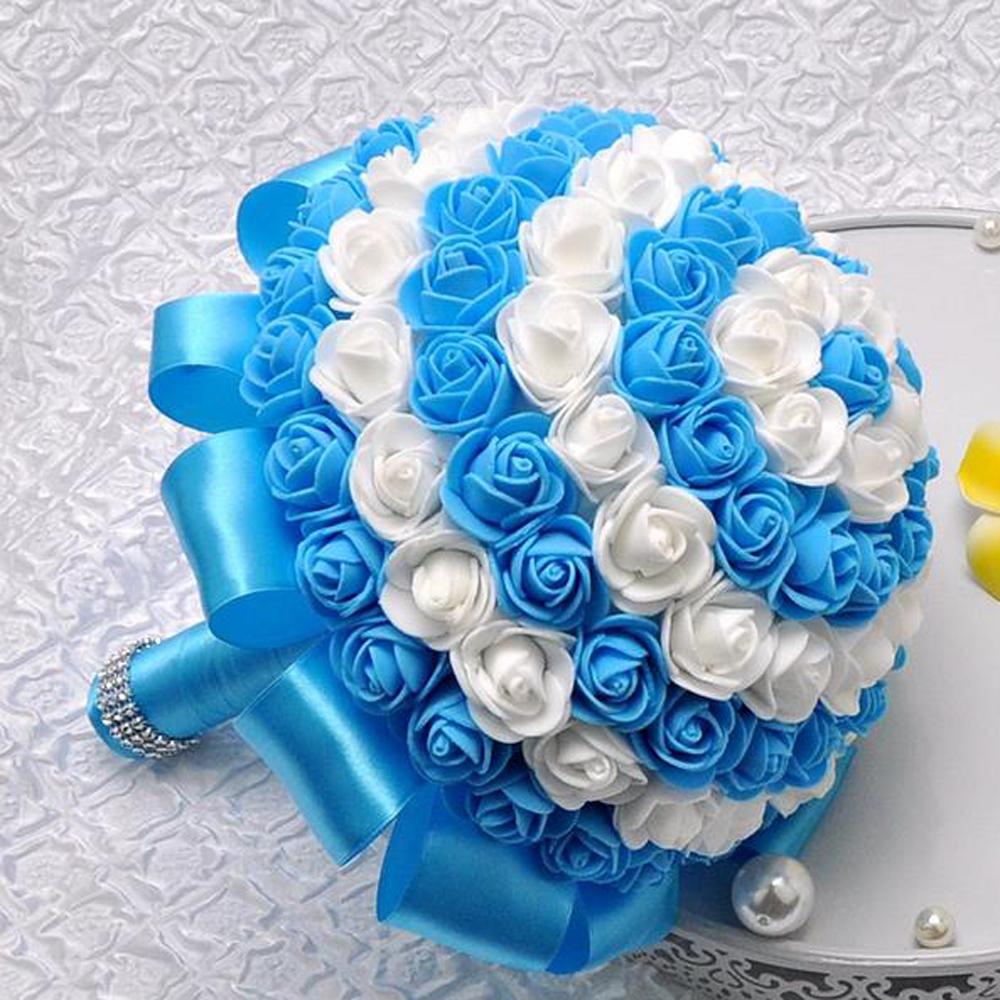 Online get cheap turquoise wedding bouquets aliexpress turquoise pink red blue wedding bridal bouquet bride holding flowers simulation korean romantic roses holding flowers dhlflorist Gallery