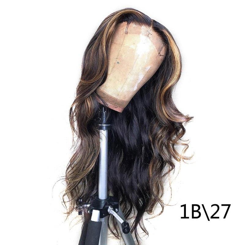 1B/27 Кружевные передние человеческие волосы парики с детскими волосами волнистые предварительно сорванные Омбре цвет бразильские волосы remy парики для женщин отбеливатель узлы