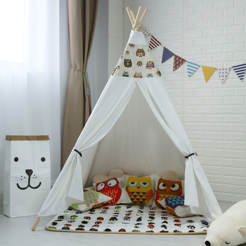 Cotton Canvas Indian Play Tent Kids Teepee Childrens Teepee, Tipi Tent Wigwam Toy Tent pink clouds teepee tent indoor childrens play tipi
