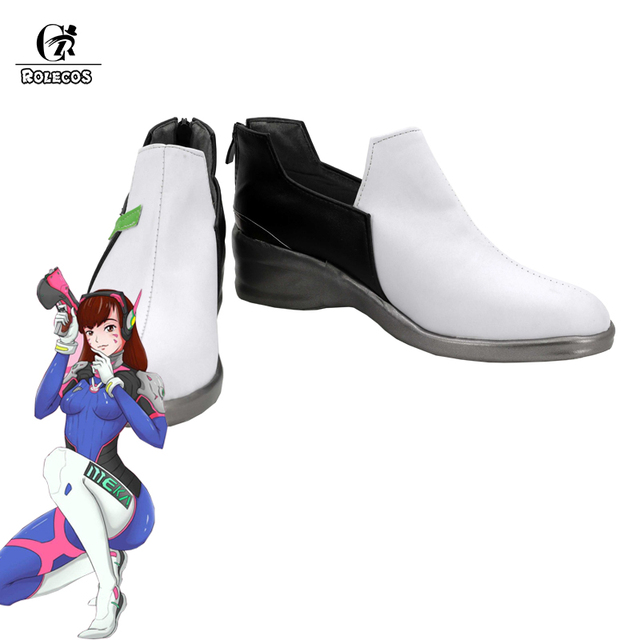 ROLECOS New Over Game Character D.VA Cosplay Costumes Shoes DVA Cosplay Shoes Women Ganme Cosplay White Shoes