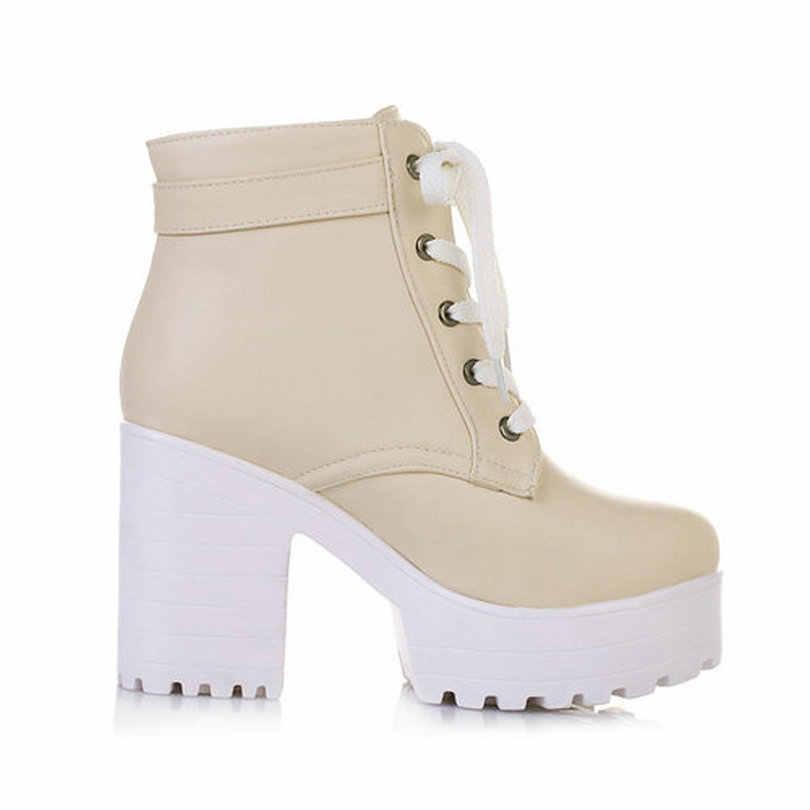 ESVEVA 3 renk kış dantel-up seksi kadın çizmeler moda platformu punk yüksek kare topuklu siyah toka yarım çizmeler artı boyutu 34-43