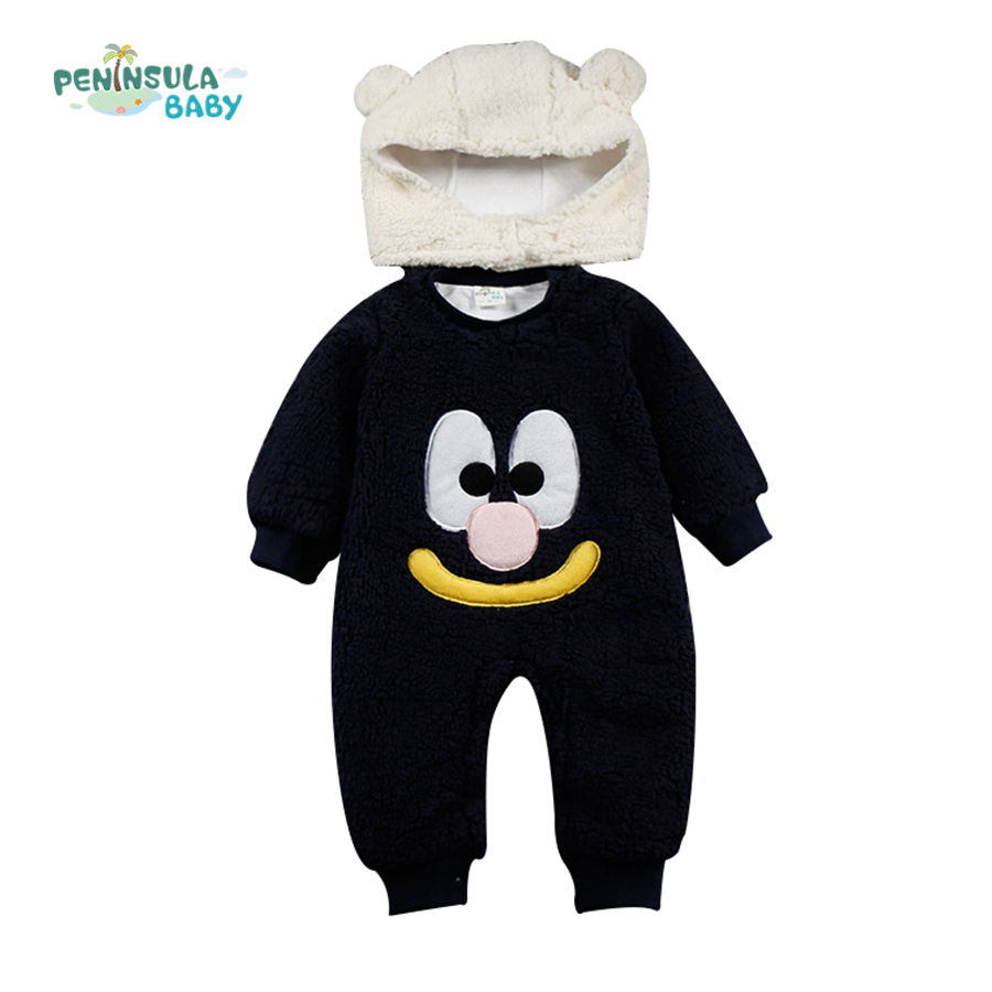 Cute Cartoon Autumn Winter Cotton Fleece Baby Rompers Long Sleeve Coverall Infant Jumpsuit for Toodler 2pcs with Hat Warm warm thicken baby rompers winter long sleeve organic cotton autumn