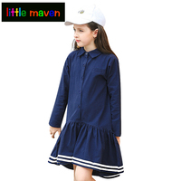 2017 Autumn Long Sleeve Cotton Loose Big Girls Clothes Teen School Style Dress Navy Blue A Line Casual Dresses 6 16T