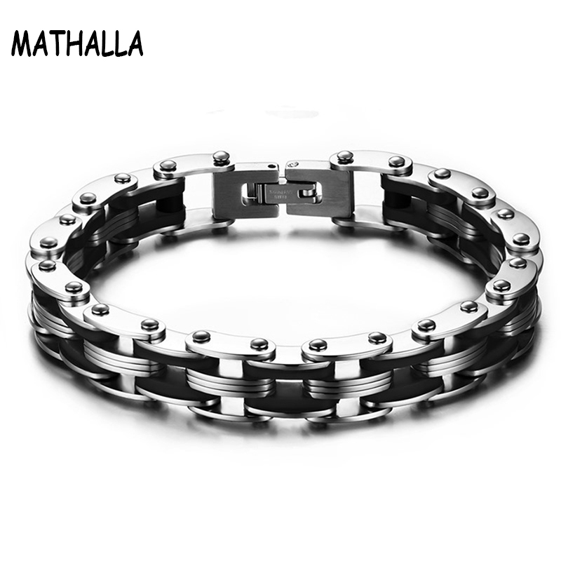 Sporty Mens Bike Chain Bracelets Stainless Steel Bicycle Chain Silicone Charm Bangle & Bracelet Pulseras Hombre