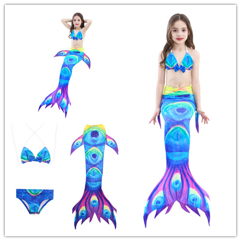 3PCS/Set Children Mermaid Tail Princess Dress Baby Girls Kids Bathing Split Swimsuit Costume Bikini Fancy Dress 2pcs set swimmable baby kids mermaid tail cosplay costume kids ariel fancy dress for girls swim bikini set zeemeerminstaart met