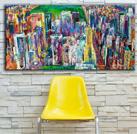 Large Size Printing Oil Painting Manhattan Panorama Art Wall Painting Abstract Art Picture For Living Room