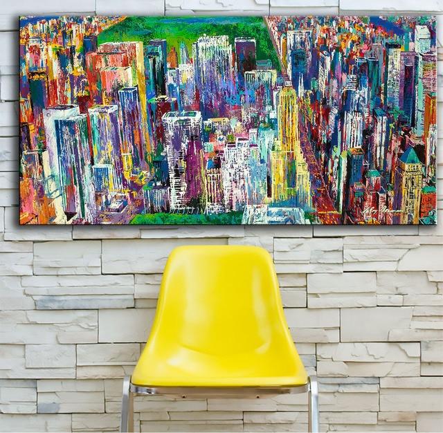 Large size Printing Oil Painting Manhattan Panorama art Wall ...