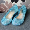 Nueva llegada de las muchachas del verano Sandalias de Los Niños los niños zapatillas de Baile Zapatos de Los Niños Zapatos Cristalinos Princesa anna elsa zapatos planos