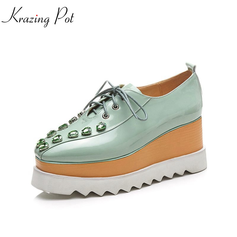 Здесь продается  Krazing Pot 2018 cow leather shoes women square toe crystal women pumps wedge superstar waterproof lace up increased shoes L01  Обувь