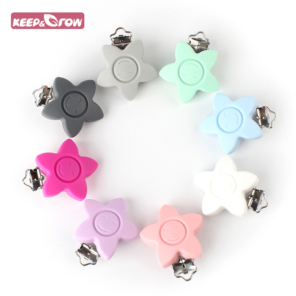 Keep&Grow BPA Free 1Pc Star Silicone Pacifier Clips Baby Teething Pacifier Chain Holder Food Grade DIY Nipple Chain Accessories