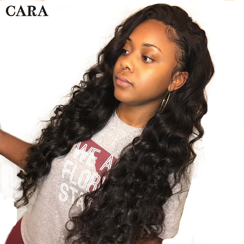 250 Density Lace Front Human Hair Wigs 13x6 Loose Wave Wig For Women Natural Black Brazilian Lace Front Wig Full Remy Hair CARA