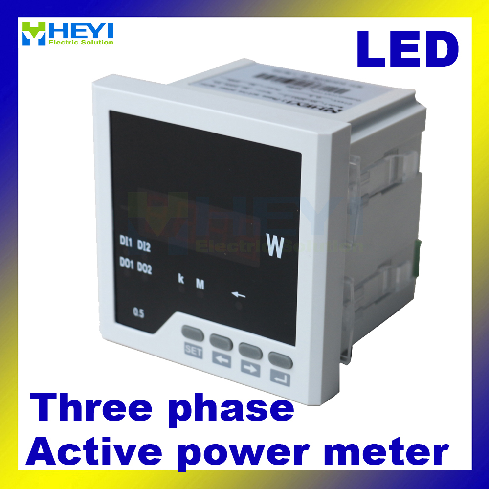 Three phase digital active power meter 120 120 96 96 72 72 80 80 mm LED